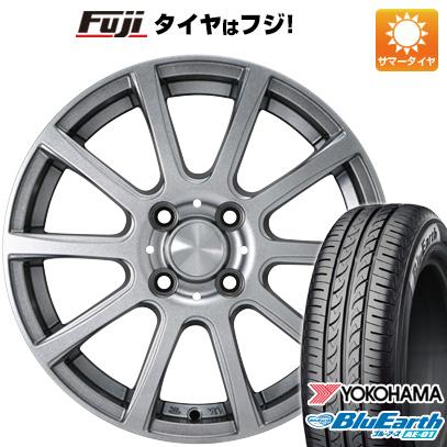 7/25はエントリーでポイント15倍 タイヤはフジ 送料無料 カジュアルセット タイプB17 メタリックグレー 4J 4.00-13 YOKOHAMA ブルーアース AE-01 155/70R13 13インチ サマータイヤ ホイール4本セット