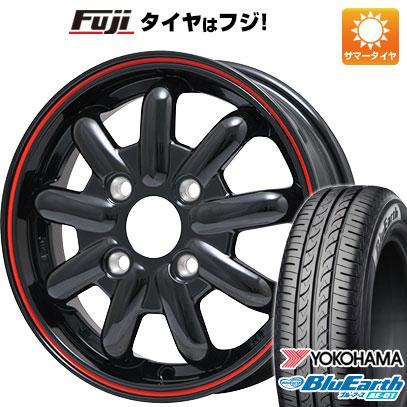 タイヤはフジ 送料無料 BRANDLE-LINE ブランドルライン ストレンジャーKST-9 (ブラック/レッドライン) 4.5J 4.50-14 YOKOHAMA ブルーアース AE-01 155/55R14 14インチ サマータイヤ ホイール4本セット
