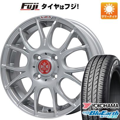 タイヤはフジ 送料無料 N-BOX タントカスタム ワゴンR LEHRMEISTER LM-S ヴェネート7 (シルバー/リムポリッシュ) 4.5J 4.50-14 YOKOHAMA ブルーアース AE-01 155/65R14 14インチ サマータイヤ ホイール4本セット