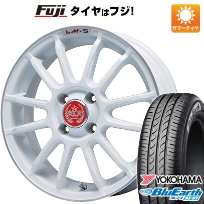 AE-01 トスカーナ6 ソリオ(MA36S) YOKOHAMA ブルーアース タイヤはフジ 4.5J サマータイヤ 送料無料 ホイール4本セット LM-S (ホワイト/リムポリッシュ) 165/65R15 LEHRMEISTER 15インチ 4.50-15