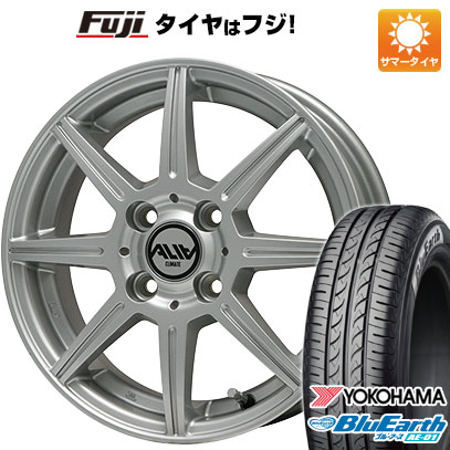 タイヤはフジ 送料無料 CLIMATE クライメイト アリア 4.5J 4.50-14 YOKOHAMA ブルーアース AE-01 155/55R14 14インチ サマータイヤ ホイール4本セット