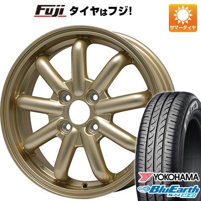 タイヤはフジ 送料無料 N-BOX タントカスタム ワゴンR BRANDLE-LINE ストレンジャーKST-9 (ゴールド) 4.5J 4.50-14 YOKOHAMA ブルーアース AE-01 155/65R14 14インチ サマータイヤ ホイール4本セット