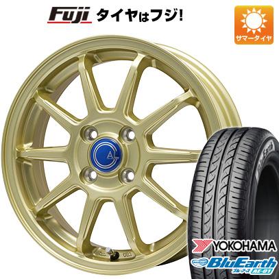 タイヤはフジ 送料無料 N-BOX タントカスタム ワゴンR BRANDLE-LINE ブランドルライン カルッシャー ゴールド 4.5J 4.50-15 YOKOHAMA ブルーアース AE-01 165/55R15 15インチ サマータイヤ ホイール4本セット
