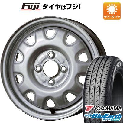 タイヤはフジ 送料無料 ELBE エルベ オリジナル スチール M73 4.5J 4.50-14 YOKOHAMA ブルーアース AE-01 155/55R14 14インチ サマータイヤ ホイール4本セット