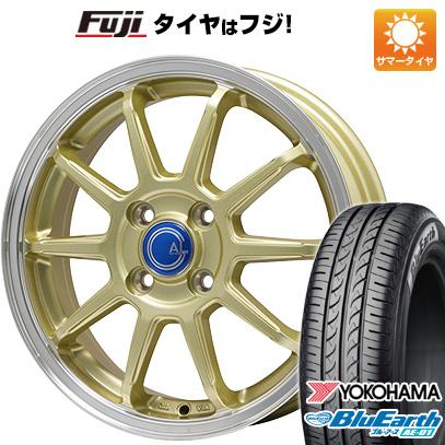 タイヤはフジ 送料無料 N-BOX タントカスタム ワゴンR ブランドルライン カルッシャー ゴールド/リムポリッシュ 4.5J 4.50-14 YOKOHAMA ブルーアース AE-01 155/65R14 14インチ サマータイヤ ホイール4本セット