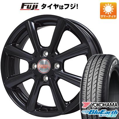 タイヤはフジ 送料無料 PREMIX プレミックス ナナ(グロスブラック) 4.5J 4.50-15 YOKOHAMA ブルーアース AE-01 165/60R15 15インチ サマータイヤ ホイール4本セット