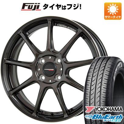 タイヤはフジ 送料無料 HOT STUFF ホットスタッフ クロススピード ハイパーエディションRS-9 5.5J 5.50-15 YOKOHAMA ブルーアース AE-01 185/55R15 15インチ サマータイヤ ホイール4本セット
