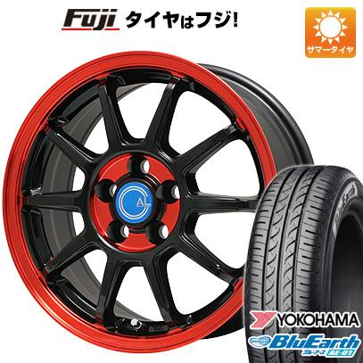 タイヤはフジ 送料無料 BRANDLE-LINE ブランドルライン カルッシャー ブラック/レッドクリア 4.5J 4.50-14 YOKOHAMA ブルーアース AE-01 165/55R14 14インチ サマータイヤ ホイール4本セット