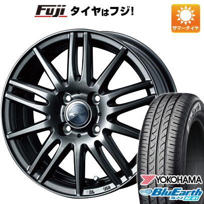 タイヤはフジ 送料無料 N-BOX タントカスタム ワゴンR WEDS ウェッズ ザミック ティート 4.5J 4.50-14 YOKOHAMA ブルーアース AE-01 155/65R14 14インチ サマータイヤ ホイール4本セット