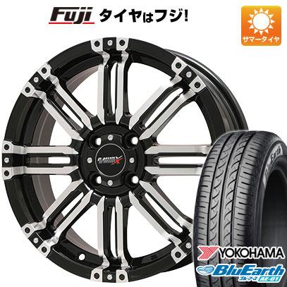 タイヤはフジ 送料無料 BIGWAY ビッグウエイ B-MUD X(ブラックポリッシュ) 4.5J 4.50-15 YOKOHAMA ブルーアース AE-01 165/55R15 15インチ サマータイヤ ホイール4本セット