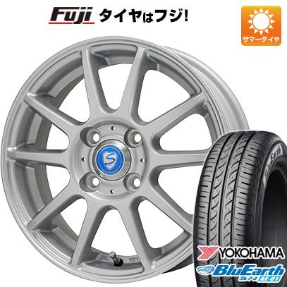 タイヤはフジ 送料無料 BRANDLE ブランドル 302 4.5J 4.50-14 YOKOHAMA ブルーアース AE-01 155/65R14 14インチ サマータイヤ ホイール4本セット