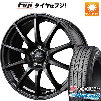 タイヤはフジ 送料無料 MID シュナイダー スタッグ 4.5J 4.50-14 YOKOHAMA ブルーアース AE-01 165/55R14 14インチ サマータイヤ ホイール4本セット