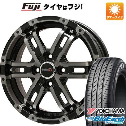 タイヤはフジ 送料無料 BIGWAY ビッグウエイ B-MUD Z(ブラックポリッシュ/ブラッククリア) 4.5J 4.50-15 YOKOHAMA ブルーアース AE-01 165/55R15 15インチ サマータイヤ ホイール4本セット