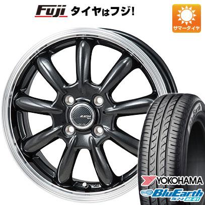 タイヤはフジ 送料無料 MONZA モンツァ JPスタイル バーニー 4J 4.00-13 YOKOHAMA ブルーアース AE-01 155/70R13 13インチ サマータイヤ ホイール4本セット