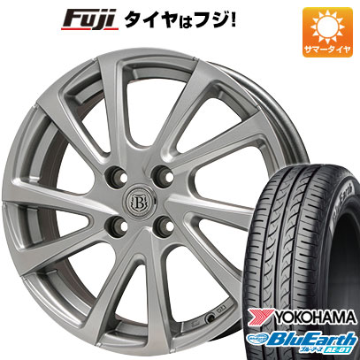 タイヤはフジ 送料無料 BRANDLE ブランドル E04 4.5J 4.50-14 YOKOHAMA ブルーアース AE-01 165/55R14 14インチ サマータイヤ ホイール4本セット