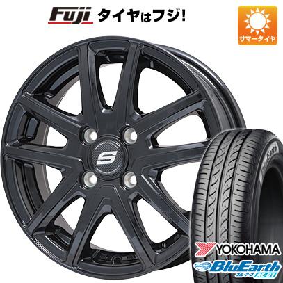 タイヤはフジ 送料無料 N-BOX タントカスタム ワゴンR BRANDLE ブランドル M61B 4.5J 4.50-14 YOKOHAMA ブルーアース AE-01 155/65R14 14インチ サマータイヤ ホイール4本セット