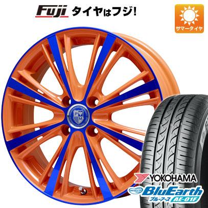 タイヤはフジ 送料無料 ノート PREMIX プレミックス アマルフィ(オレンジ) 6.5J 6.50-16 YOKOHAMA ブルーアース AE-01F 195/55R16 16インチ サマータイヤ ホイール4本セット