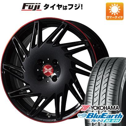 タイヤはフジ 送料無料 ノート PREMIX プレミックス バリック(パールブラック/レッドクリア) 6.5J 6.50-16 YOKOHAMA ブルーアース AE-01F 195/55R16 16インチ サマータイヤ ホイール4本セット