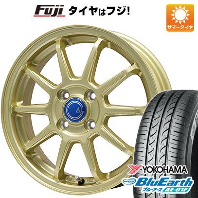 タイヤはフジ 送料無料 BRANDLE-LINE ブランドルライン カルッシャー ゴールド 5.5J 5.50-14 YOKOHAMA ブルーアース AE-01F 175/65R14 14インチ サマータイヤ ホイール4本セット