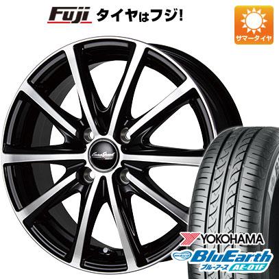 タイヤはフジ 送料無料 ノート MID ユーロスピード V25 6J 6.00-16 YOKOHAMA ブルーアース AE-01F 195/55R16 16インチ サマータイヤ ホイール4本セット