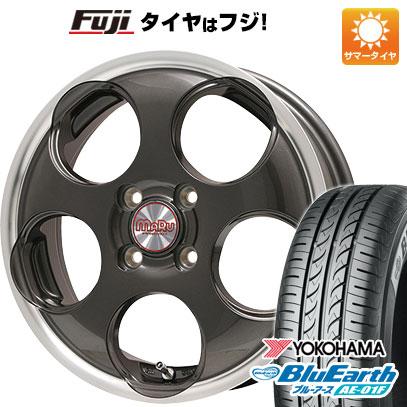 タイヤはフジ 送料無料 ソリオ(MA26S) PREMIX プレミックス マル(ガンメタ/リムポリッシュ) 4.5J 4.50-14 YOKOHAMA ブルーアース AE-01F 165/70R14 14インチ サマータイヤ ホイール4本セット