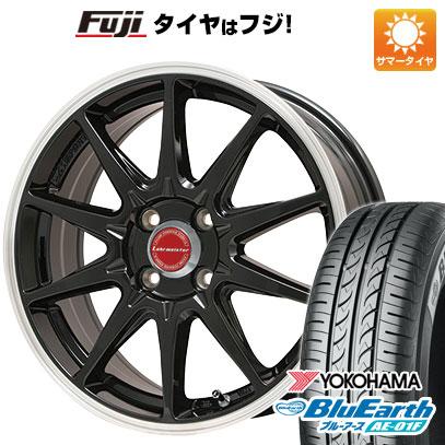 タイヤはフジ 送料無料 ソリオ(MA26S) LEHRMEISTER LMスポーツRS10(グロスブラックリムポリッシュ) 4.5J 4.50-14 YOKOHAMA ブルーアース AE-01F 165/70R14 14インチ サマータイヤ ホイール4本セット