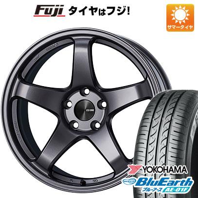 タイヤはフジ 送料無料 ENKEI エンケイ PF05 7J 7.00-16 YOKOHAMA ブルーアース AE-01F 195/55R16 16インチ サマータイヤ ホイール4本セット