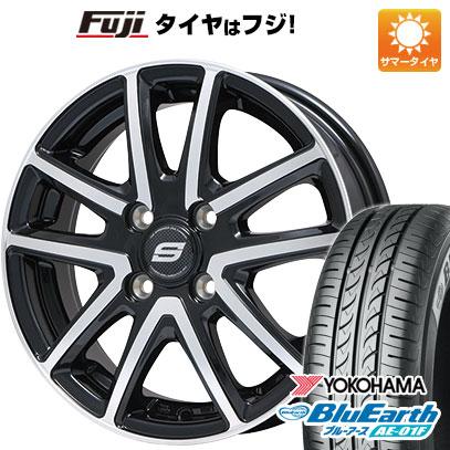 タイヤはフジ 送料無料 BRANDLE ブランドル M61BP 5.5J 5.50-14 YOKOHAMA ブルーアース AE-01F 185/70R14 14インチ サマータイヤ ホイール4本セット