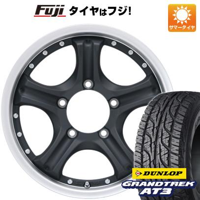 タイヤはフジ 送料無料 ジムニー カジュアルセット タイプE10 マットブラックポリッシュ 5.5J 5.50-16 DUNLOP グラントレック AT3 175/80R16 16インチ サマータイヤ ホイール4本セット