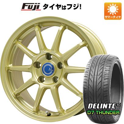 タイヤはフジ 送料無料 BRANDLE-LINE ブランドルライン カルッシャー ゴールド 7.5J 7.50-18 DELINTE デリンテ D7 サンダー(限定) 225/45R18 18インチ サマータイヤ ホイール4本セット
