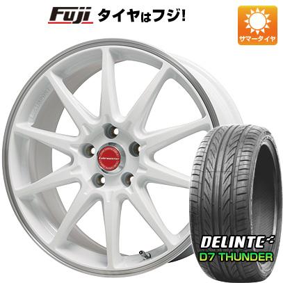 タイヤはフジ 送料無料 LEHRMEISTER レアマイスター LMスポーツRS10(ホワイト/リムポリッシュ) 7.5J 7.50-18 DELINTE デリンテ D7 サンダー(限定) 215/35R18 18インチ サマータイヤ ホイール4本セット