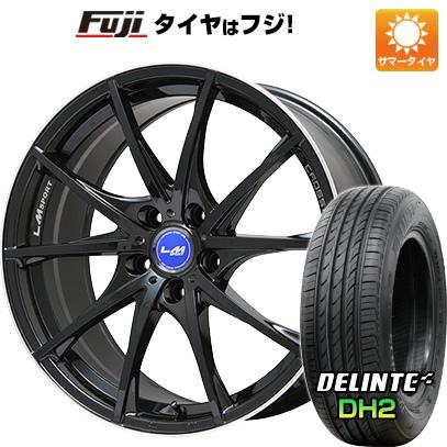 タイヤはフジ 送料無料 LEHRMEISTER レアマイスター LMスポーツクロス10 ブラックパール 7.5J 7.50-18 DELINTE デリンテ DH2(限定) 225/40R18 18インチ サマータイヤ ホイール4本セット