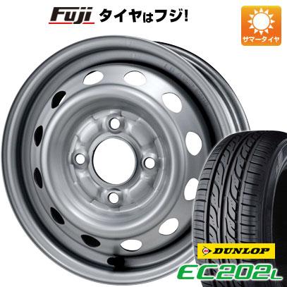 タイヤはフジ 送料無料 ELBE エルベ オリジナル スチール020 4J 4.00-13 DUNLOP EC202L 155/65R13 13インチ サマータイヤ ホイール4本セット