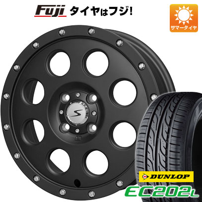タイヤはフジ 送料無料 SOLID RACING ソリッドレーシング Iメタル X 4.5J 4.50-15 DUNLOP EC202L 165/55R15 15インチ サマータイヤ ホイール4本セット
