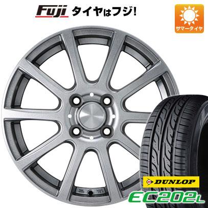7/25はエントリーでポイント15倍 タイヤはフジ 送料無料 カジュアルセット タイプB17 メタリックグレー 5.5J 5.50-14 DUNLOP EC202L 175/65R14 14インチ サマータイヤ ホイール4本セット
