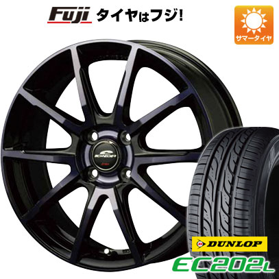 タイヤはフジ 送料無料 MID シュナイダー DR-01 4.5J 4.50-14 DUNLOP EC202L 155/65R14 14インチ サマータイヤ ホイール4本セット