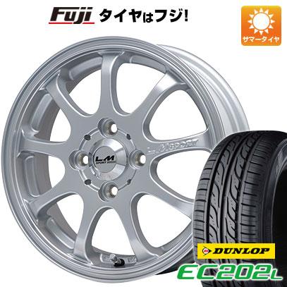タイヤはフジ 送料無料 LEHRMEISTER レアマイスター LMスポーツファイナル(メタリックシルバー) 4.5J 4.50-14 DUNLOP EC202L 165/55R14 14インチ サマータイヤ ホイール4本セット