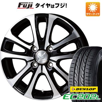 タイヤはフジ 送料無料 TOPY トピー セレブロ LF5 4.5J 4.50-14 DUNLOP EC202L 155/65R14 14インチ サマータイヤ ホイール4本セット