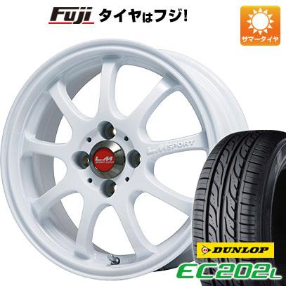 タイヤはフジ 送料無料 LEHRMEISTER LMスポーツファイナル(ホワイト) 4.5J 4.50-14 DUNLOP EC202L 155/65R14 14インチ サマータイヤ ホイール4本セット