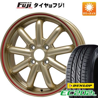 タイヤはフジ 送料無料 BRANDLE-LINE ストレンジャーKST-9 (ゴールド/レッドライン) 4.5J 4.50-14 DUNLOP EC202L 155/65R14 14インチ サマータイヤ ホイール4本セット