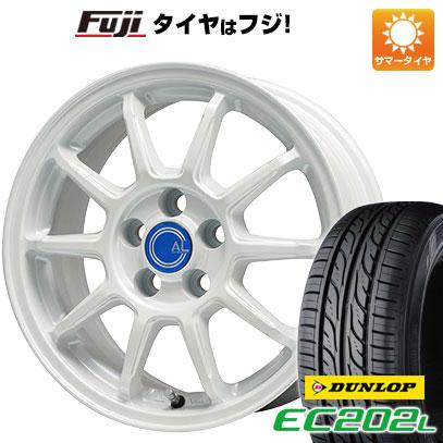 タイヤはフジ 送料無料 BRANDLE-LINE ブランドルライン カルッシャー ホワイト 4.5J 4.50-14 DUNLOP EC202L 155/65R14 14インチ サマータイヤ ホイール4本セット