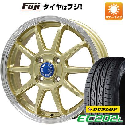タイヤはフジ 送料無料 BRANDLE-LINE カルッシャー ゴールド/リムポリッシュ 4.5J 4.50-14 DUNLOP EC202L 155/65R14 14インチ サマータイヤ ホイール4本セット