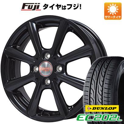 タイヤはフジ 送料無料 PREMIX プレミックス ナナ(グロスブラック) 4.5J 4.50-14 DUNLOP EC202L 165/55R14 14インチ サマータイヤ ホイール4本セット