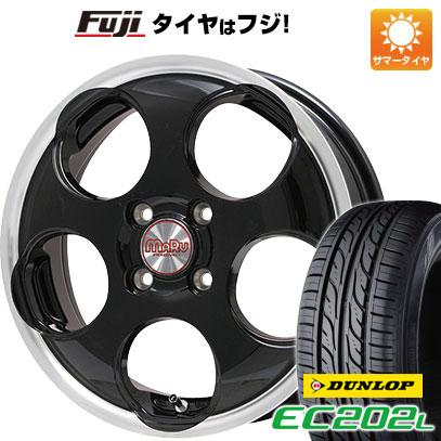 タイヤはフジ 送料無料 ソリオ(MA26S) PREMIX プレミックス マル(ブラック/リムポリッシュ) 4.5J 4.50-14 DUNLOP EC202L 165/70R14 14インチ サマータイヤ ホイール4本セット