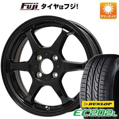タイヤはフジ 送料無料 LEHRMEISTER リアルスポーツ カリスマVS6 4.5J 4.50-14 DUNLOP EC202L 155/65R14 14インチ サマータイヤ ホイール4本セット