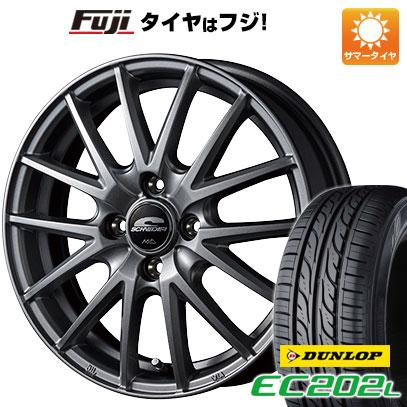 7/25はエントリーでポイント15倍 タイヤはフジ 送料無料 ソリオ(MA26S) MID シュナイダー SQ27 4.5J 4.50-14 DUNLOP EC202L 165/70R14 14インチ サマータイヤ ホイール4本セット