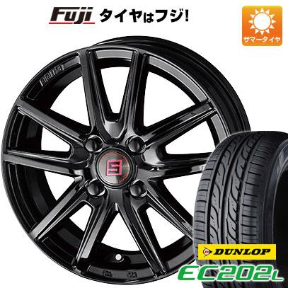 タイヤはフジ 送料無料 KYOHO 共豊 キョウホウ ザインSS ブラックエディション 4J 4.00-13 DUNLOP EC202L 145/80R13 13インチ サマータイヤ ホイール4本セット