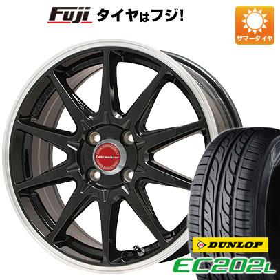 タイヤはフジ 送料無料 LEHRMEISTER レアマイスター LMスポーツRS10(グロスブラックリムポリッシュ) 5J 5.00-15 DUNLOP EC202L 165/55R15 15インチ サマータイヤ ホイール4本セット
