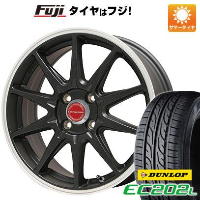 タイヤはフジ 送料無料 ソリオ(MA26S) LEHRMEISTER LMスポーツRS10(マットブラックリムポリッシュ) 4.5J 4.50-14 DUNLOP EC202L 165/70R14 14インチ サマータイヤ ホイール4本セット