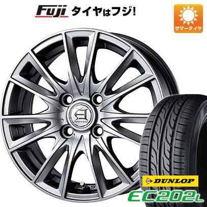タイヤはフジ 送料無料 TECHNOPIA テクノピア アフロディーテ EF 4.5J 4.50-14 DUNLOP EC202L 155/65R14 14インチ サマータイヤ ホイール4本セット